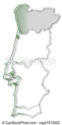 Região Norte Mapa De Portugal Norte.Destacado Mapa Regiao Portugal Norte