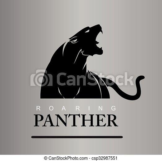 destemido, rugindo, predador, panther. - csp32987551