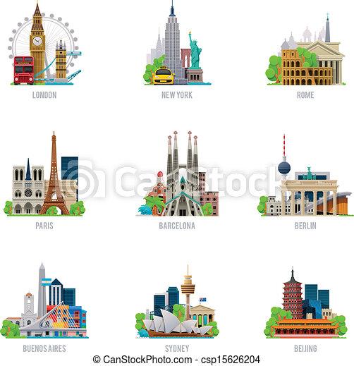 destinazioni, viaggiare, vettore, set, icona - csp15626204