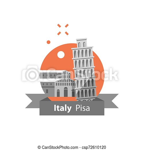 destino, itália, conceito, viagem, pisa, símbolo, marco famoso, torre, italiano, turismo, arquitetura - csp72610120