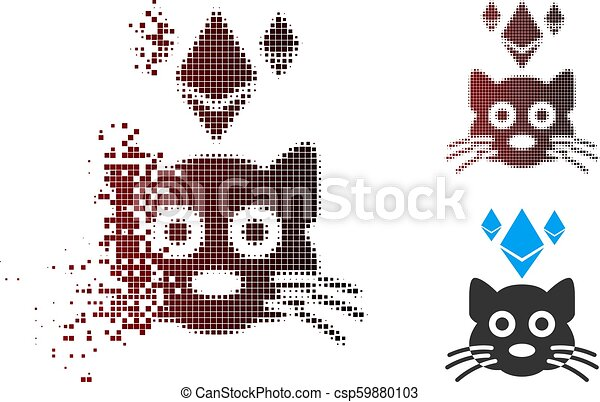 Destructed Chaton Crypto Halftone Ethereum Pixel Icône