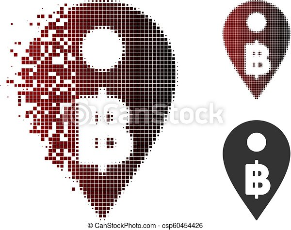 Destructed Pixelated Halftone Thai Baht Map Marker Icon - csp60454426