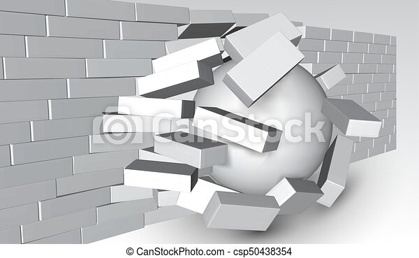 Eps10destruction Of A Brick Wall 3d Breaking Being Smashed Or Apart Destruction Abstract Background