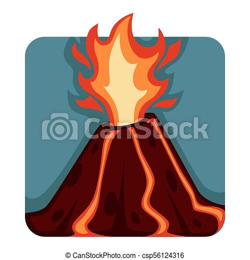 Destructive and unpredictable volcanic eruption with hot streams of lava - csp56124316