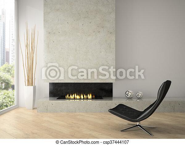 Desván, moderno, interpretación, diseño, interior, chimenea, 3d.