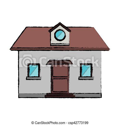 Dibujo desde la ventana de casa - csp42773199