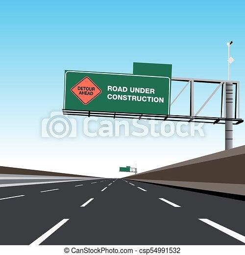 Camino libre vacío bajo la señal de desvío de construcción - csp54991532