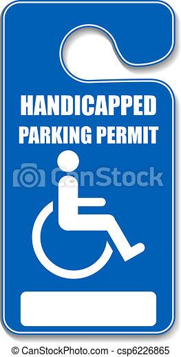 Una etiqueta de estacionamiento Handicap - csp6226865