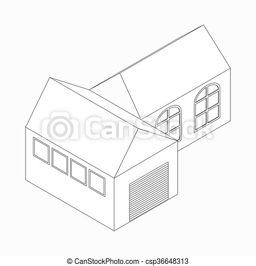 Detached House Icon Isometric 3d Style Detached House With Garage