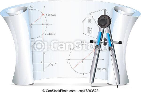 detacherande, plan, kompass - csp17203573
