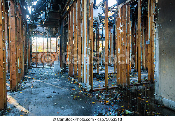 Detail from a home after a large fire house - csp75053318