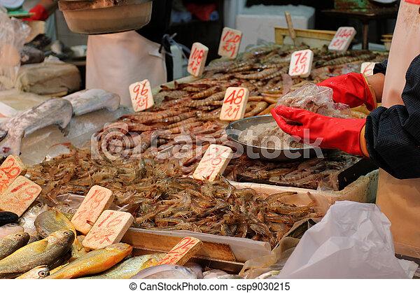 Detail from the fish market in Hong Kong, China - csp9030215