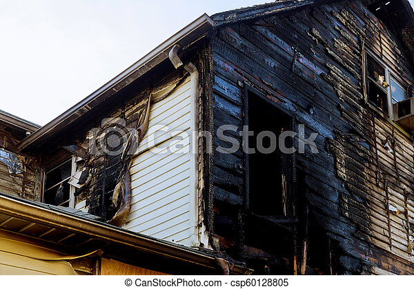 Detail images arson from home that was abandoned after a large housefire. - csp60128805