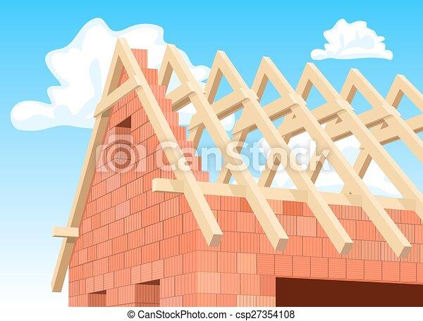 Detail Modern house under construction. Illustration - csp27354108
