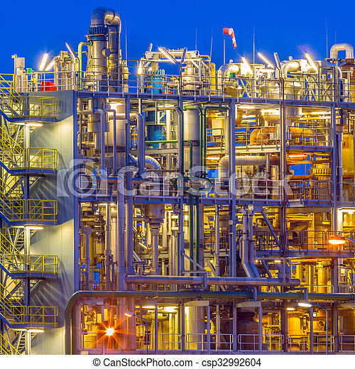 Detail of a Chemical plant in twilight - csp32992604