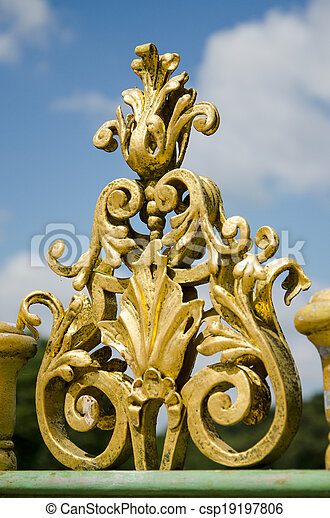 Detail of a metal fence of the 18th century in Potsdam, Brandenburg, Germany - csp19197806
