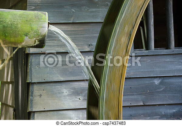 Detail of a small water mill - csp7437483