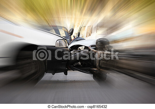 detail of an accident between car and motorcycle - csp8165432