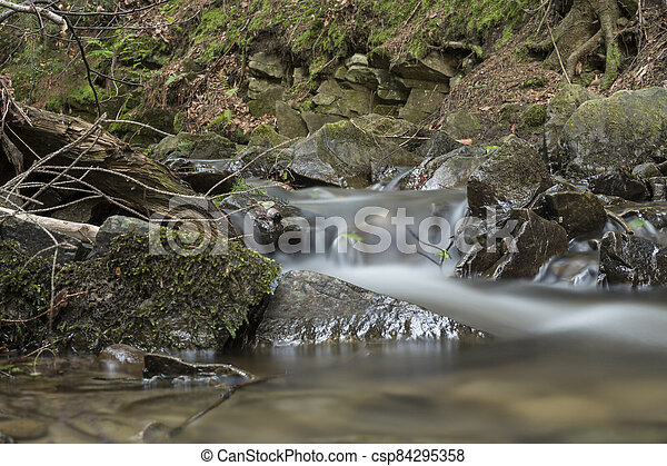 detail of cascade on a small stream - csp84295358