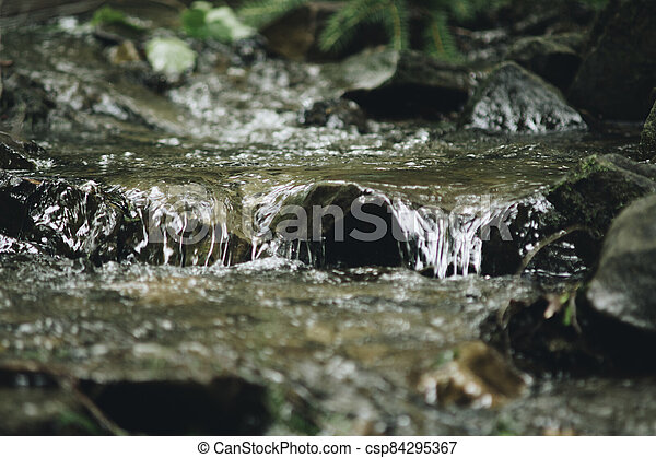 detail of cascades on a stream - csp84295367