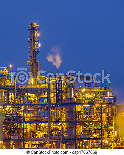 Detail of Chemical plant in twilight - csp47867669