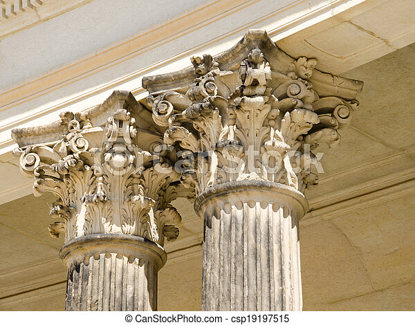 Detail of colonnade from the 18th century in Potsdam, Brandenburg, Germany - csp19197515