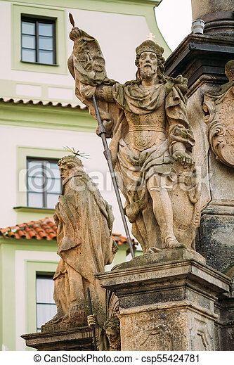 Detail of Column. Statue on main town square in Cesky Krumlov, Czech Republic - csp55424781