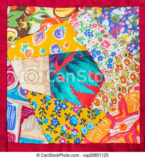 detail of hand made patchwork quilt in red framing - csp29851125
