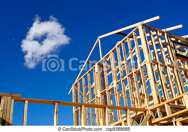 Detail of house frame under construction. Timber frame of a house ...