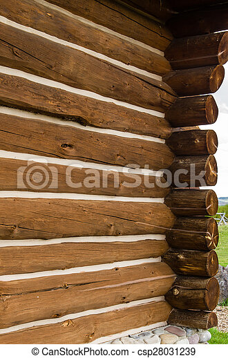 Detail of log home construction - csp28031239