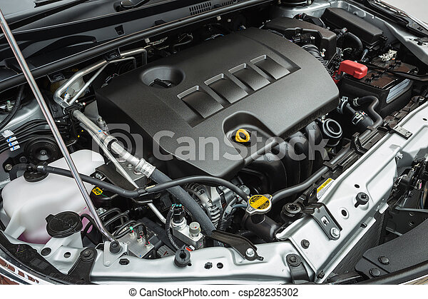 Detail of new car engine - csp28235302