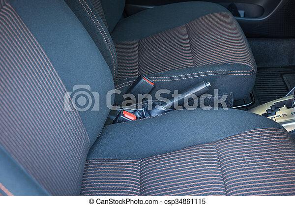 detail of new modern car interior focus on seatbelt. Black Bedroom Furniture Sets. Home Design Ideas