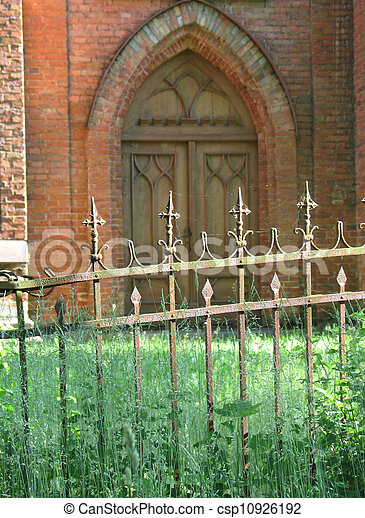 Detail Of Old Church In Lithuanian Village Gothic Doors