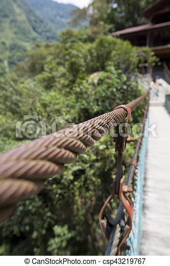 Detail of suspended bridge at the Pailon del Diablo, Ecuador - csp43219767