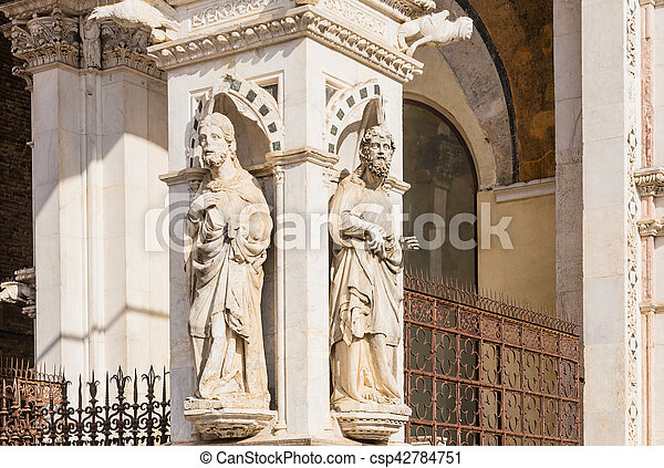 Detail of the facade of a marble chapel Cappella di Piazza in Siena, Italy - csp42784751