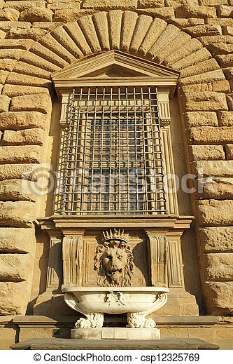 detail of the facade of Pitti Palace  - csp12325769