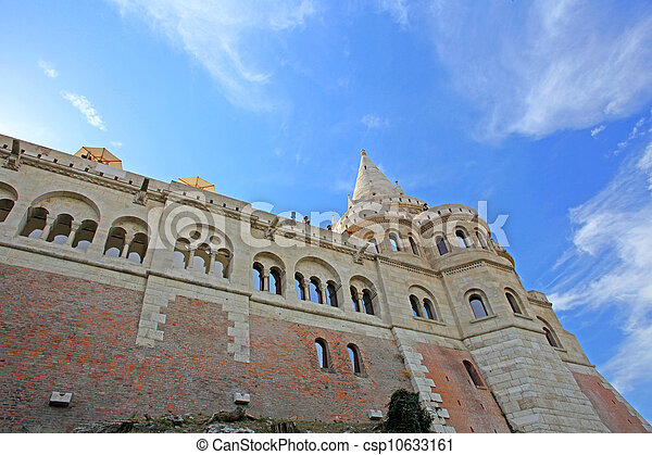 detail of the Fisherman's Bastion in Budapest , Hungary - csp10633161