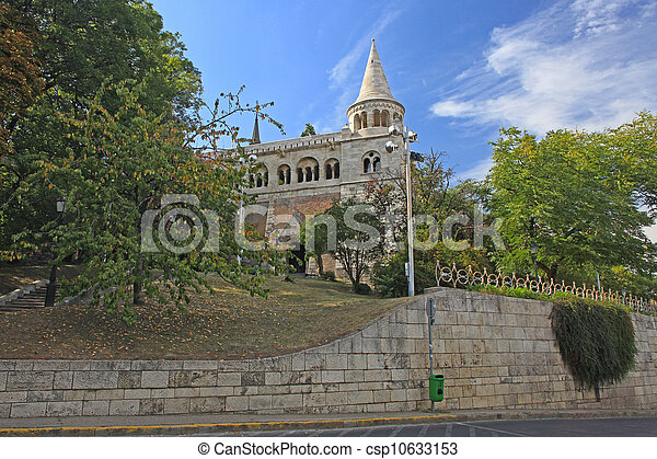detail of the Fisherman's Bastion in Budapest , Hungary - csp10633153