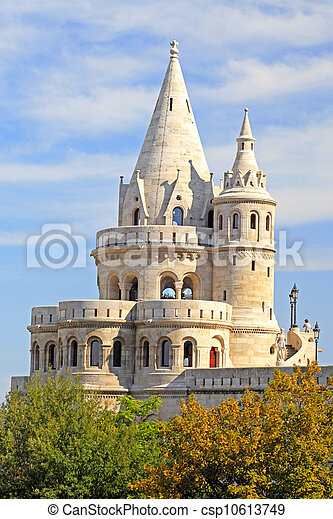 detail of the Fisherman's Bastion in Budapest - csp10613749