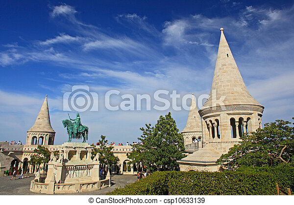detail of the Fisherman's Bastion in Budapest , Hungary - csp10633139