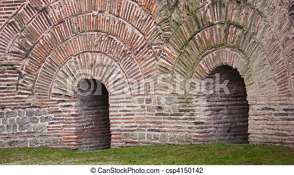 detail of the kaiser thermes in Trier, Germany. Roman Construction - csp4150142