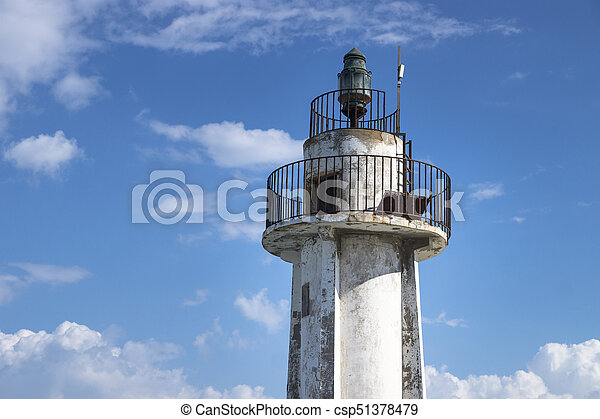 Detail of tower of old lighthouse in Tyre, Sour, Lebanon - csp51378479