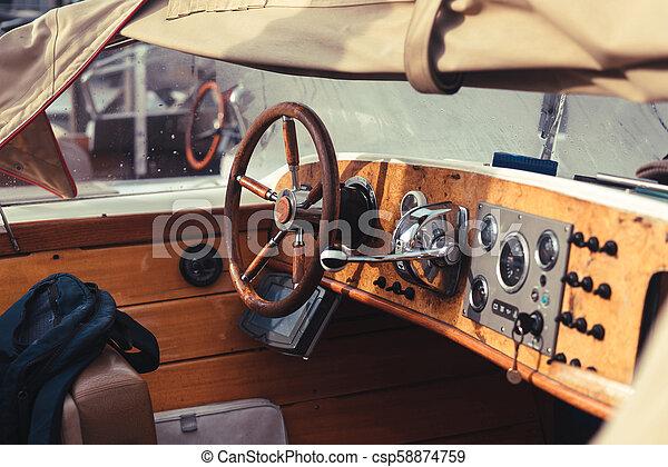 Detail of Vintage Wood Speed Boat - csp58874759