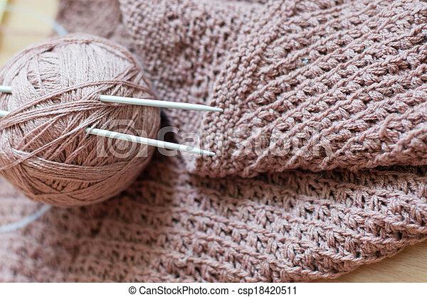 Detail of woven handicraft knit brown sweater - csp18420511