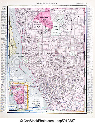 Detailed Antique Color Street Map Buffalo New York Vintage Map Of