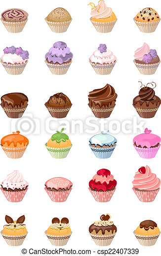 Detailed det with different birthday cakes - csp22407339