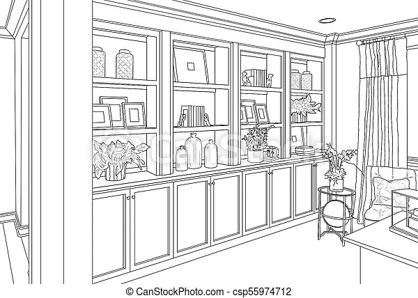 detailed drawing of custom living room built in shelves and cabinets