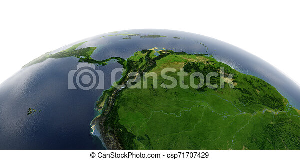 Detailed Earth on white background. Africa and Europe. The western part of South America. Peru, Ecuador, Colombia, Venezuela and part of Brazil - csp71707429