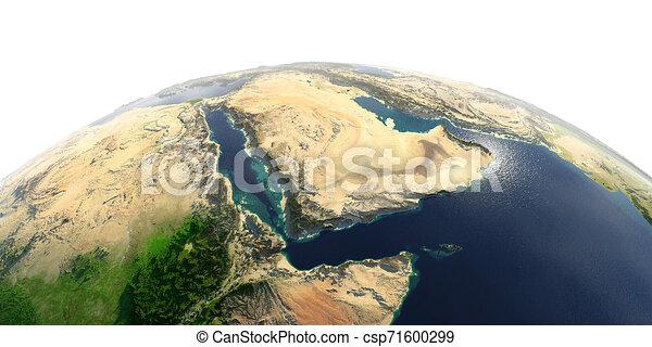 Detailed Earth on white background. Saudi Arabia - csp71600299