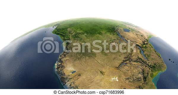 Detailed Earth on white background. Southern Africa Angola and Congo - csp71683996